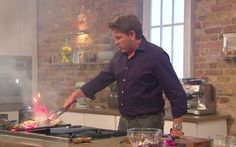 While filming Saturday Kitchen chef James Martin accidentally set fire to his   grilled chicken dinner