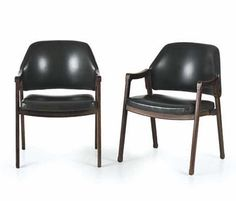 Wooden and leather armchairs. Design Ico Parisi   Manufacturer Cassina, Meda