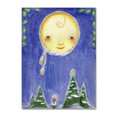 """Trademark Art 'Holiday Moon' by Jennifer Nilsson Graphic Art on Wrapped Canvas Size: 24"""" H x 18"""" W x 2"""" D"""