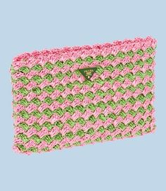 Crocheted Raffia Clutch in Grass Green and Pink by Prada