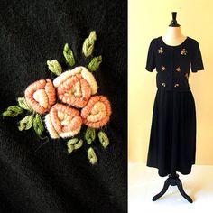 Black cotton dress / 80s black knit dress / flower by CTMercantile, $25.00