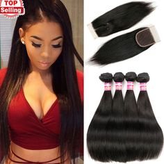 10A Grade Peruvian straight virgin hair 4bundles with top lace closure rosa hair unprocessed Peruvian straight human hair weaves no shedding