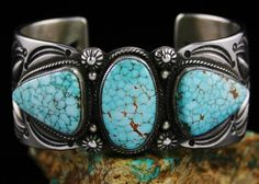 Calvin Martinez Rare High Grade Number Eight Spiderweb Turquoise Ingot Bracelet #CalvinMartinez #Cuff