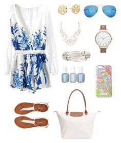 """""""rompers"""" by rosiemccumiskey ❤ liked on Polyvore featuring Aéropostale, Alex and Ani, Ray-Ban, Chanel, Olivia Burton, Lilly Pulitzer and Longchamp"""