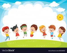 Happy kids playing vector image on VectorStock Kids Background, Cartoon Background, Happy Children's Day, Happy Kids, School Border, Teacher Classroom Decorations, Creative Birthday Cards, Happy New Year Message, Paper Quilling Patterns