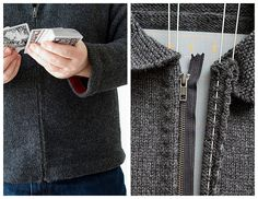How to add a zipper to a sweater without stretching it.