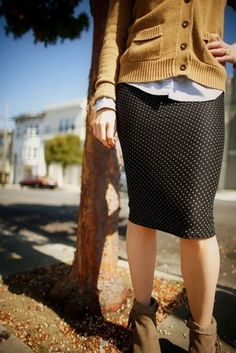Mustard cardigan, pin dot skirt, boots