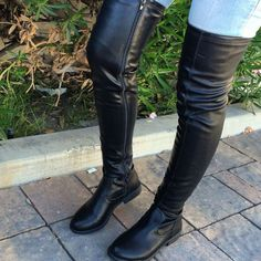 4a5bfdabe725 Black Thigh High Round Toe Boot