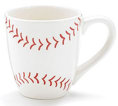 Handwash only/FDA approved. Hand-painted ceramic mug in white white red red stitching to resemble a baseball. White interior and handle.