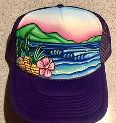 Hand painted Pineapple horizon trucker hat in purple (adult one size) 45aa2288b00a