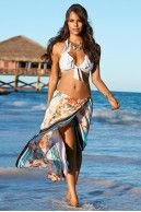 Seashell & coral wrap skirt|Boston Proper