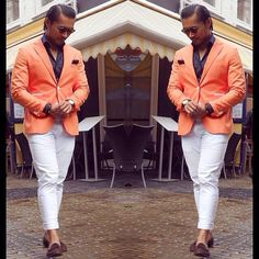 orange blazer white pants mens style .