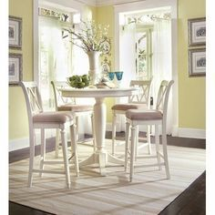 Paint The One I Have White Table For Eat In Kitchen I Think I Will Try Making Over Pub Table And Chairs Round Counter Height Table Counter Height Dining Table
