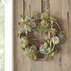 The Faux Heirloom Pumpkin and Pinecone Wreath at Birch Lane.