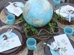 For Earth Day: Buy OR use a globe, and make it the centerpiece for your meals for the entire day! Love this idea.