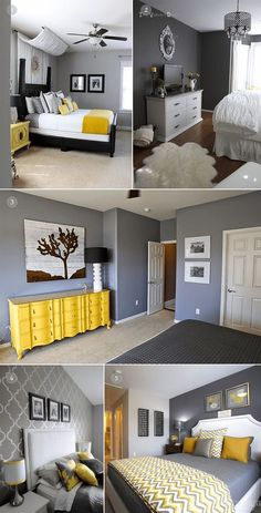 romantic bedroom design ideas for comfortable bedding 13 Bedroom Color Schemes, Bedroom Colors, Yellow Gray Bedroom, Home Bedroom, Room Decor Bedroom, Bedrooms, Romantic Bedroom Design, Interior Design Living Room, Room Inspiration