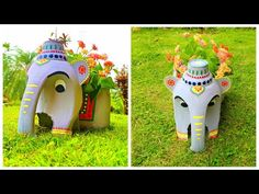 How to make Beautiful Elephant Plant Pot from Discarded Plastic Bottle | DIY Toy Elephant Pot - YouTube Art Plastic, Reuse Plastic Bottles, Plastic Bottle Crafts, Diy Bottle, Clay Flower Pots, Plastic Flower Pots, Flower Pot Crafts, Diy Crafts For Gifts, Craft Stick Crafts