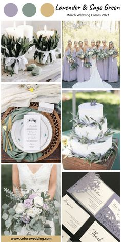 Lavender + Sage Green Wedding: lavender bridesmaid dresses, white cake decorated with sage green leaves, wedding flowers decors, bridal bouquet, invitation cards. wedding sage green Best 8 March Wedding Color Palettes for 2021 Lavender Wedding Colors, Lavender Bridesmaid Dresses, Sage Green Wedding, Lilac Wedding, Wedding Bridesmaids, Wedding Day, Wedding Flowers, Yellow Wedding, Lavender Wedding Invitations