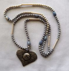 "$2.01 - Silvertone Heart with Face on 36"" Strand of Beads (122316-14 NEC) fashion, jewel #Unknown #Beads"