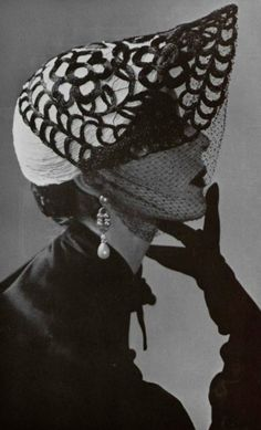 Mystery Lady, 1950.  Hat by Albouy.  Bonnet style with overlay and veil.