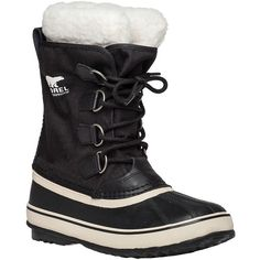 SOREL Winter Carnival Black Snow Boot ($130) ❤ liked on Polyvore featuring shoes, boots, black, mid-calf boots, cuffed boots, cuff boots, black waterproof boots, lace up snow boots and black mid calf boots