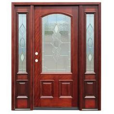 Pacific Entries Strathmore Traditional 3/4 Lite Arch Stained Mahogany Wood Entry  Door With 12 In. Sidelites M63STMR412 At The Home Depot