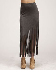 This grey fringe maxi skirt is perfect for a party night out with the girls.
