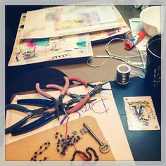 It's threatening to storm so into the studio I go for some work and play! #jewelrymaking #artjournal #beads #garnets #skeletonkey #mixedmedia #art #getmessy