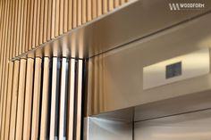 Woodform Inspiration Modern Apartment Design, Office Interior Design, Office Interiors, Timber Battens, Timber Cladding, Elevator Design, Hotel Corridor, Stair Lift, Elevator Lobby