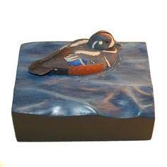 Duck wood carving hand carved wooden duck collectible gift nature wood art wildlife art duck hunter gift birder gift harlequin duck decoy