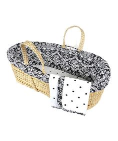 This Tadpoles Black & White Damask Moses Basket Set by Tadpoles is perfect! #zulilyfinds