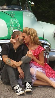 Rockabilly wedding engagement photo www.MadamPaloozaEmporium.com www.facebook.com/MadamPalooza