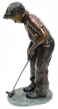 Boy Putting Outdoor Garden Bronze Golf Sculpture Available at AllSculptures.com