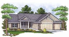 Home Plans HOMEPW01580 - 1,922 Square Feet, 3 Bedroom 2 Bathroom Country Home with 3 Garage Bays