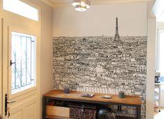 Papier peint original & décoration murale en édition limitée : Oh My Wall Papier peint Vue de Paris Grand Palais Tour Eiffel Medium par Thomas Lable alias Materz
