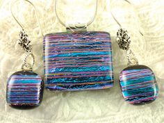 Fused Glass Jewelry Dichroic Pendant Earrings Set by AngelasArtGlass