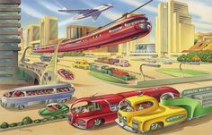 imperialgoogie:  This was a 1956 vision of Auckland in the year 2000. …Yeah, not quite there yet.