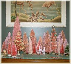 pink bottle brush Christmas trees