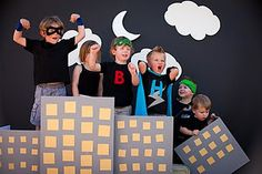 """Superhero party ideas--love the city boxes and some of the snacks on this page--""""hero"""" sandwiches are super cute!"""