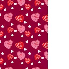 design - Candied Hearts Wrapping Paper by Milena Martinez