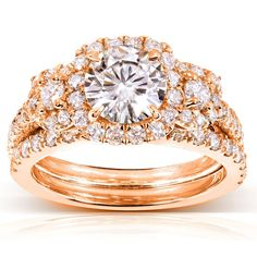 Annello by Kobelli 14k Gold Round Moissanite and 1 ct TDW Diamond 2-Piece Bridal Ring Set (Size 6 Rose Gold), Women's, Pink