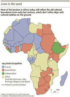 africa map colonial occupation and current borders