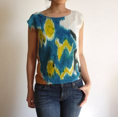 Ikat abstracted // hand painted silk tshirt // one of a by xsilk