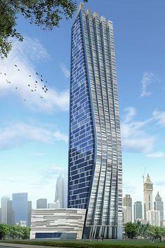 G 45 tower on Behance Unusual Buildings, Amazing Buildings, Modern Buildings, Futuristic Architecture, Facade Architecture, Beautiful Architecture, Modern Skyscrapers, Future Buildings, Facade Design