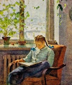 Girl reading by Tatiana Nilovna Yablonskaya, Soviet artist, 1917-2005