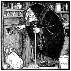 "John D Batten - The Witch, Illustration from ""Europa's Fairy Book,"" 1916 Baba Yaga, Hansel Y Gretel, Brothers Grimm, Grimm Fairy Tales, Fairytale Art, Faeries, Folklore, Illustrators, Fantasy Art"