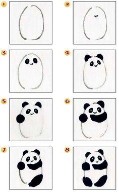 Osos panda dibujo paso a paso... c'est trop mignon!!!