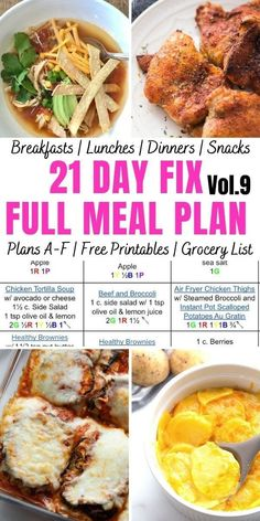 Looking for a 21 Day Fix Meal Plan to help reignite your healthy eating motivation as we move into a new month? This complete ultimate portion fix meal plan contains breakfast, lunch, dinner, and snacks, for ALL 21 Day Fix Plans A-F, plus prep tips and an itemized printable grocery list! 21 Day Fix Breakfast, Breakfast Lunch Dinner, 21 Day Fix Meal Plan, Meal Prep For The Week, Clean Eating Meal Plan, Clean Eating Recipes, Healthy Eating Plans, Meal Prep Grocery List, Grocery List Healthy