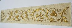 Antique French Gold Metallic Embroidery Silk Panel Emrboidered Flowers Textile Applique