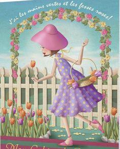 Garden Nina De San Cute Images, Beautiful Images, Cute Pictures, Decoupage, Art Mignon, Finger Art, Art Themes, Marquis, Illustrations